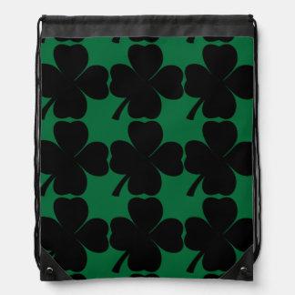 Black Shamrock | Lucky Irish Four Leaf Clovers Drawstring Bag