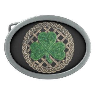 Black Shamrock On Celtic Knots Belt Buckle