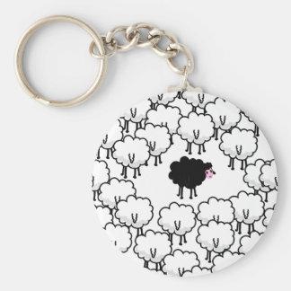 Black Sheep Basic Round Button Key Ring