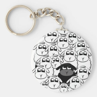 Black sheep basic round button key ring