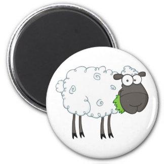Black Sheep Cartoon Character 6 Cm Round Magnet