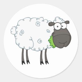 Black Sheep Cartoon Character Round Sticker