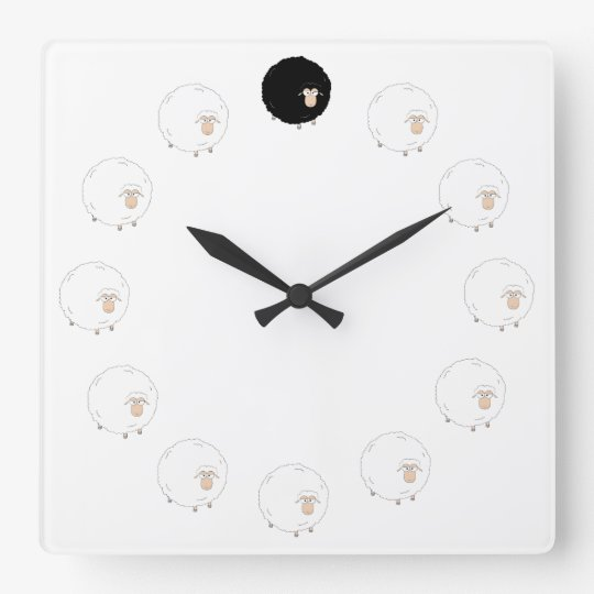 Black sheep clock with TRANSPARENT background