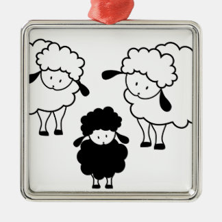 Black sheep family Silver-Colored square decoration