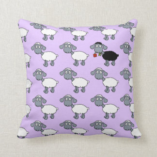 Black Sheep Lamb with Red Flower in White Flock Cushion
