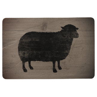 Black Sheep Silhouette Rustic Style Floor Mat