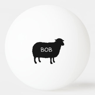 Black Sheep Silhouette with Custom Text Ping Pong Ball