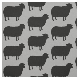 Black Sheep Silhouettes Pattern Fabric