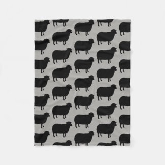 Black Sheep Silhouettes Pattern Fleece Blanket