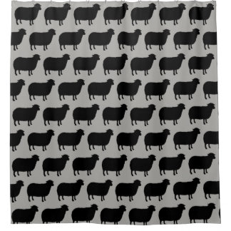 Black Sheep Silhouettes Pattern Shower Curtain