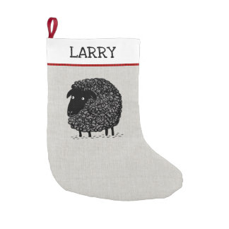 Black Sheep with Custom Text Small Christmas Stocking
