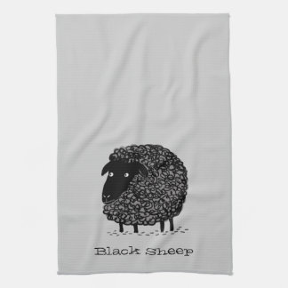 Black Sheep with Custom Text Tea Towel