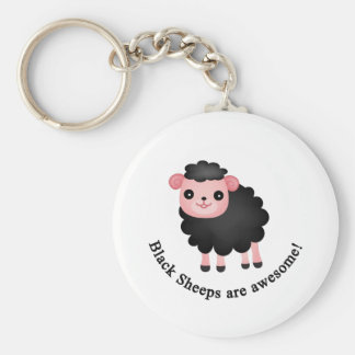 Black sheeps are awesome basic round button key ring
