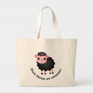 Black sheeps are awesome large tote bag