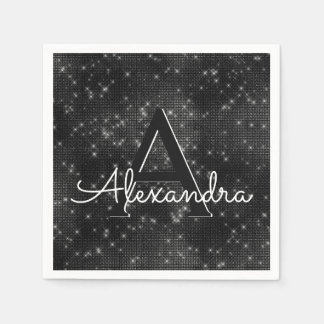 Black Shimmer & Sparkle Monogram Birthday Paper Serviettes