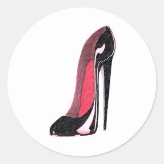Black Shiny Left Stiletto Shoe Classic Round Sticker