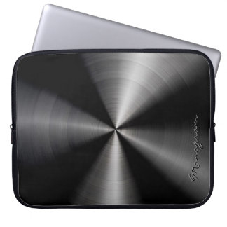 Black Shiny Metallic  Stainless Steel Look Laptop Sleeve