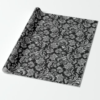 Black & Shiny Silver Floral Damasks Wrapping Paper