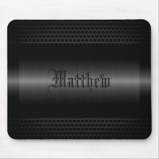 Black Shiny Stainless Steel Metal Look Mouse Pad
