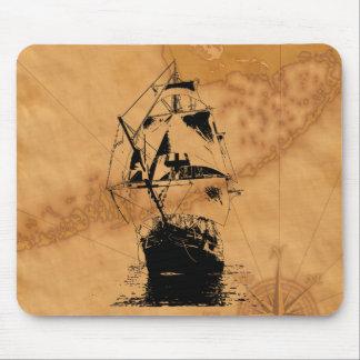 Black Ship Silhouette Mouse Pad