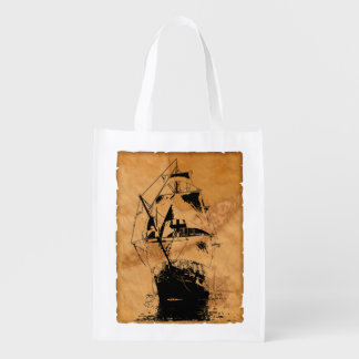 Black Ship Silhouette Reusable Grocery Bags