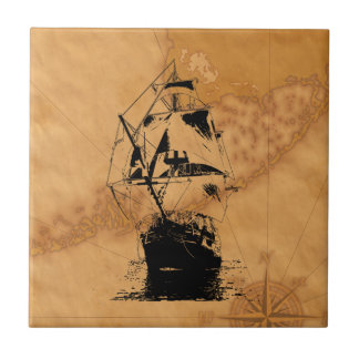 Black Ship Silhouette Small Square Tile