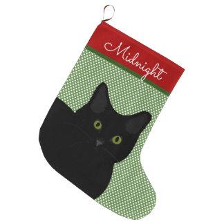Black Short Hair Cat Green Eyes Personalized Large Christmas Stocking