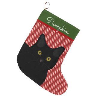 Black Short Hair Cat Yellow Eyes Personalized Large Christmas Stocking
