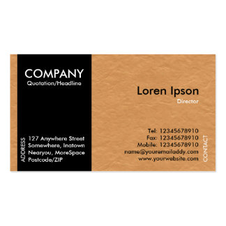 Black SideBand - Lght Brown Paper Texture Pack Of Standard Business Cards