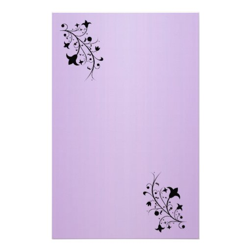 Black Silhouette Abstract Scroll Flowers Stationery