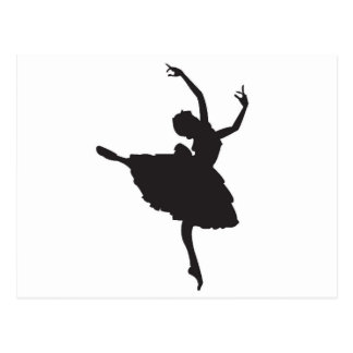 Black Silhouette Ballet Dancer Postcard