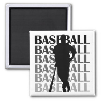 Black Silhouette Baseball Player T-shirts and Gift Square Magnet