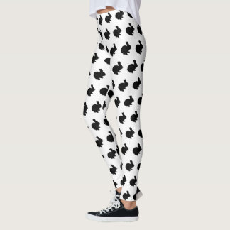 Black Silhouette Bunny Rabbit Leggings