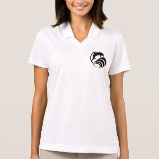 Black Silhouette Dolphin Jumping in Ocean Waves Polo T-shirts
