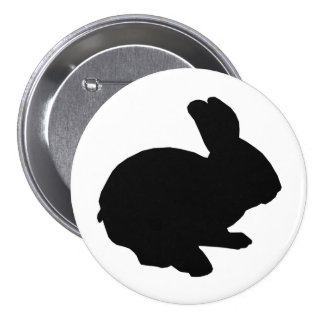 Black Silhouette Easter Bunny Button