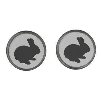 Black Silhouette Easter Bunny Cufflinks Gunmetal Finish Cufflinks