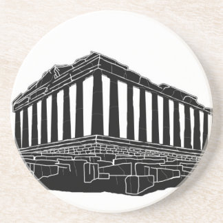 Black silhouette of Parthenon Beverage Coasters