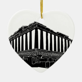 Black silhouette of Parthenon Ceramic Heart Decoration