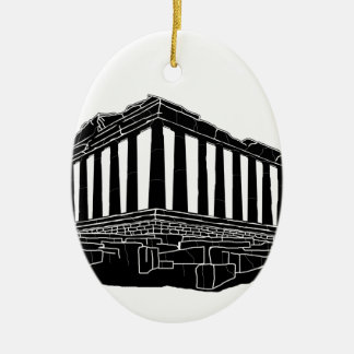 Black silhouette of Parthenon Ceramic Oval Decoration