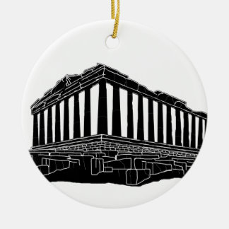 Black silhouette of Parthenon Round Ceramic Decoration