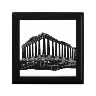 Black silhouette of Parthenon Small Square Gift Box