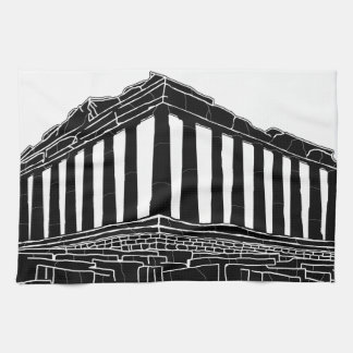 Black silhouette of Parthenon Towels