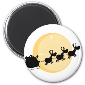 Black Silhouette Of Santa And A Reindeers Flying 6 Cm Round Magnet