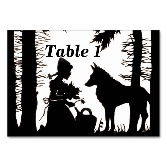 Black Silhouette Red Riding Hood Wolf Under Trees Card