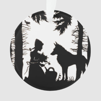 Black Silhouette Red Riding Hood Wolf Woods