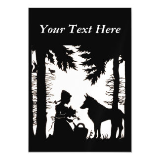 Black Silhouette Red Riding Hood Wolf Woods Magnetic Invitations