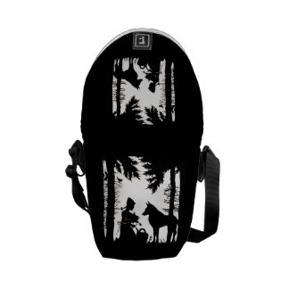 Black Silhouette Red Riding Hood Wolf Woods Courier Bag