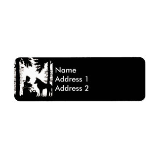 Black Silhouette Red Riding Hood Wolf Woods Return Address Label