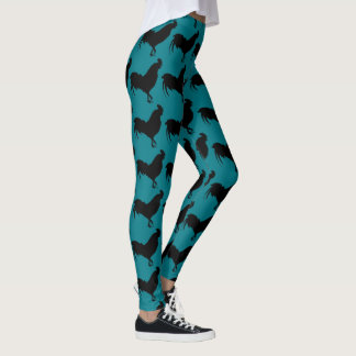 Black Silhouette Rooster Year2017 leggings