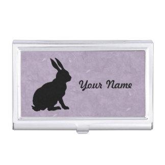 Black Silhouette Side View sitting Rabbit Purple Business Card Holder